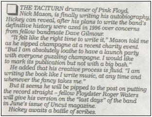 Nick Mason's Book Update