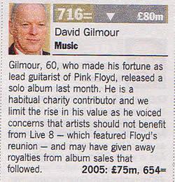 Gilmour Times Rich List