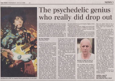 Times Press Cutting concerning Syd Barret's Death from  12th July 2006