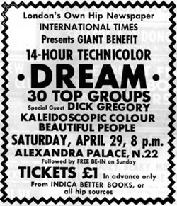 Advert for the 14 Hour Technicolour Dream at which Pink Floyd played and John Lennon attended