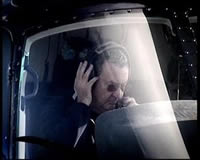 Nick Mason in helicopter