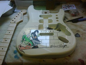 Pink Floyd Signed Guitar Hand Painted by Gerald Scarfe