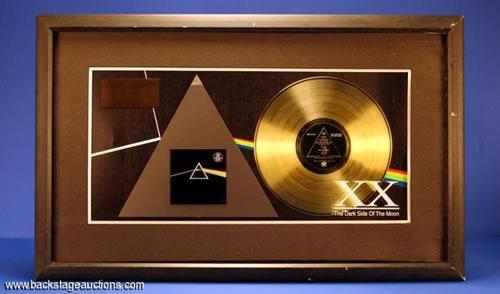 Rare Pink Floyd Dark Side of the Moon Gold Disk in Presentation Frame