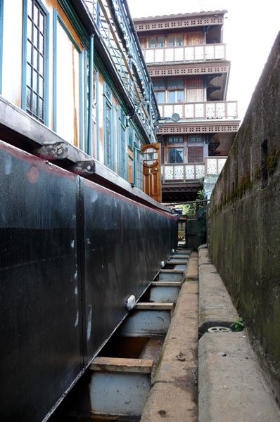 In dry dock being worked on