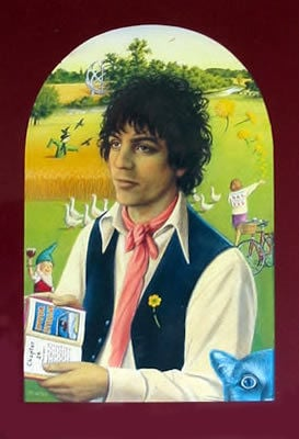 The portrait shows Syd set against a background of Grantchester Meadows with symbolic references to his songs, mostly from the first Pink Floyd album