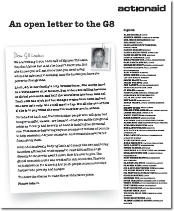 Act!onAid Letter which David Gilmour put his name to.