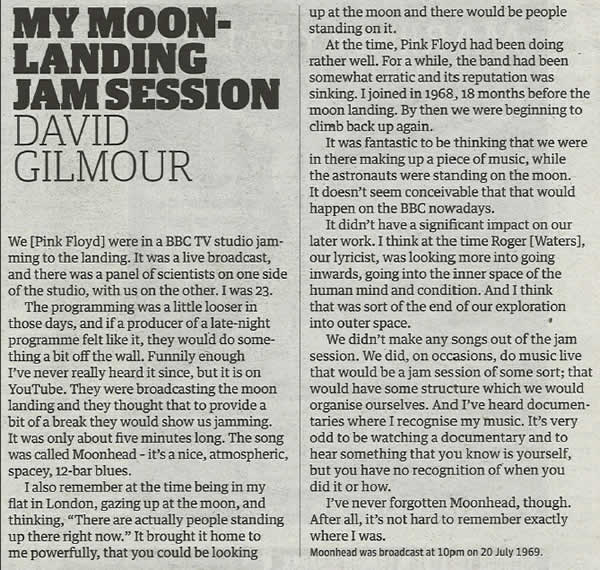 David Gilmour's Moonhead article in the Guardian newspaper.  A press clipping regarding Pink Floyd's Moonhead song.