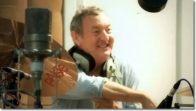 Nick Mason happily playing his drums (All You Need is Love - Children in Need 2009)