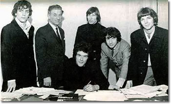 Pink Floyd signing contract with EMI at Manchester Square in 1967