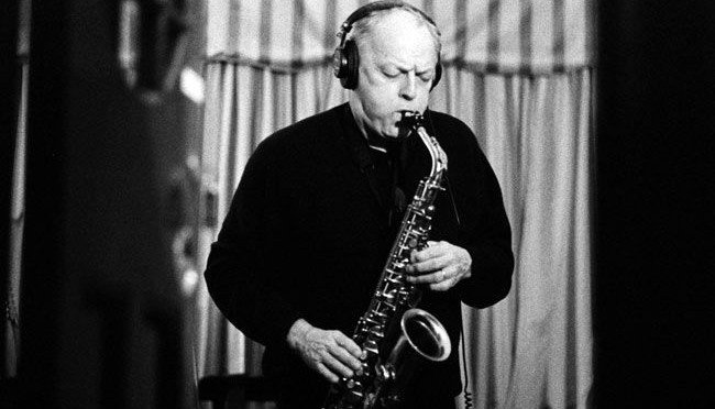 David Gilmour playing saxophone
