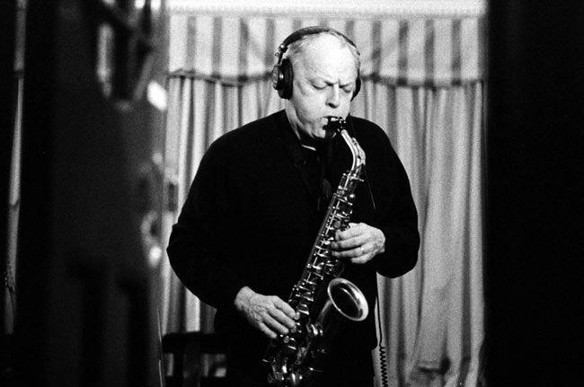 David Gilmour playing saxophone