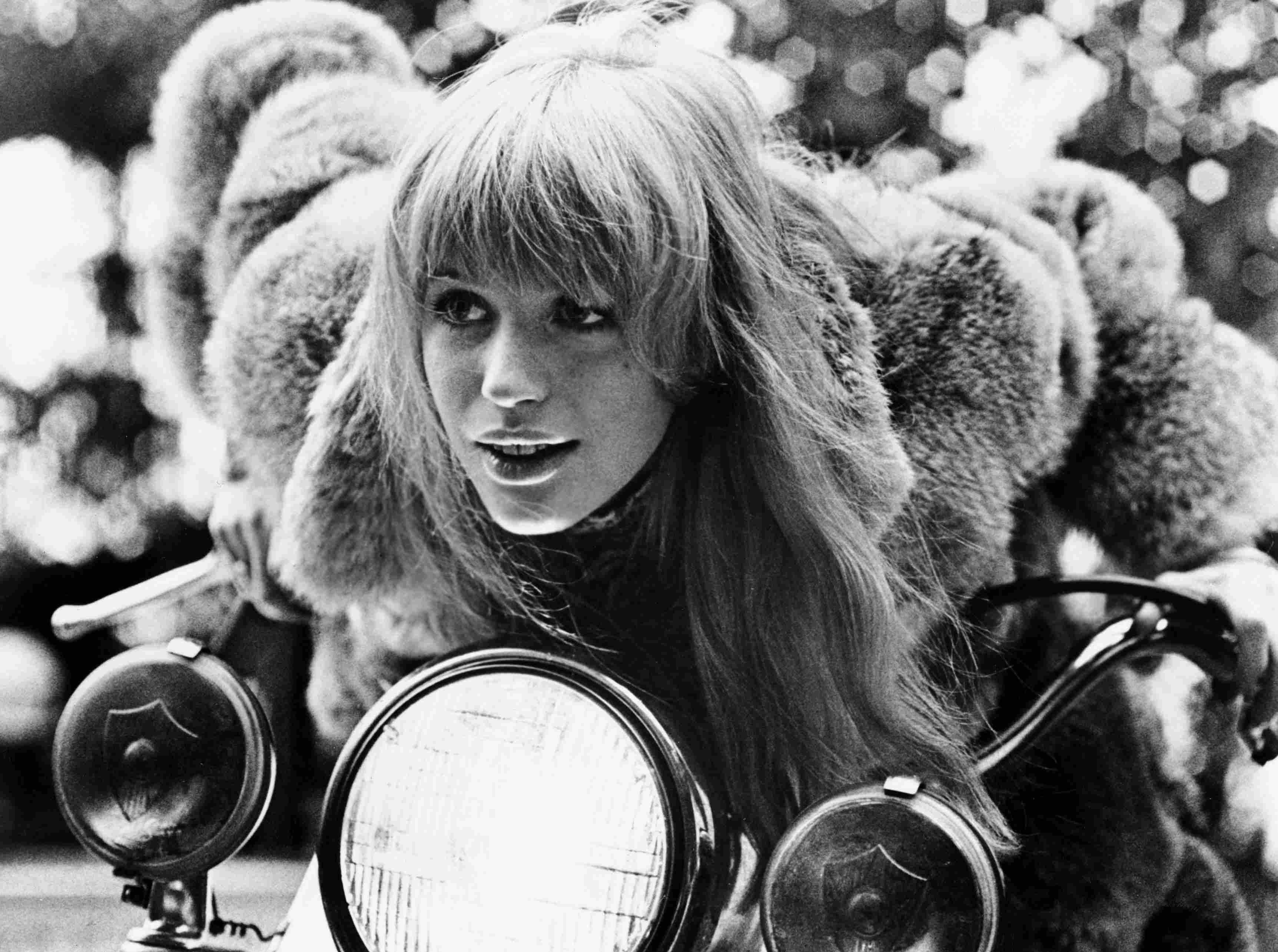 Marianne Faithfull on Motorbike, 1968