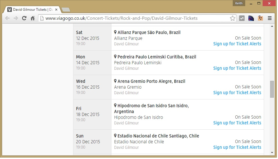 David Gilmour South American Tour 2015