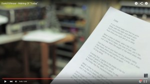 David Gilmour Today Lyrics Sheet