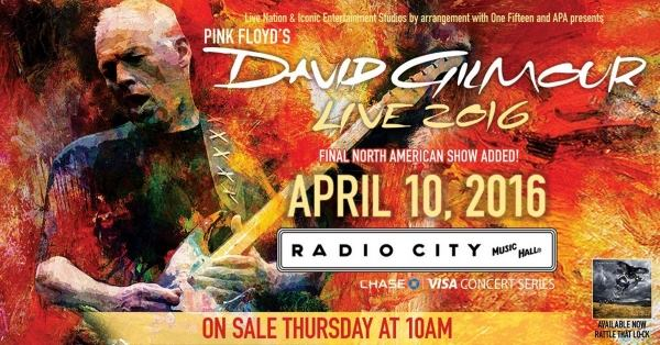 New David Gilmour Concert Announced for 2016 for North American Tour