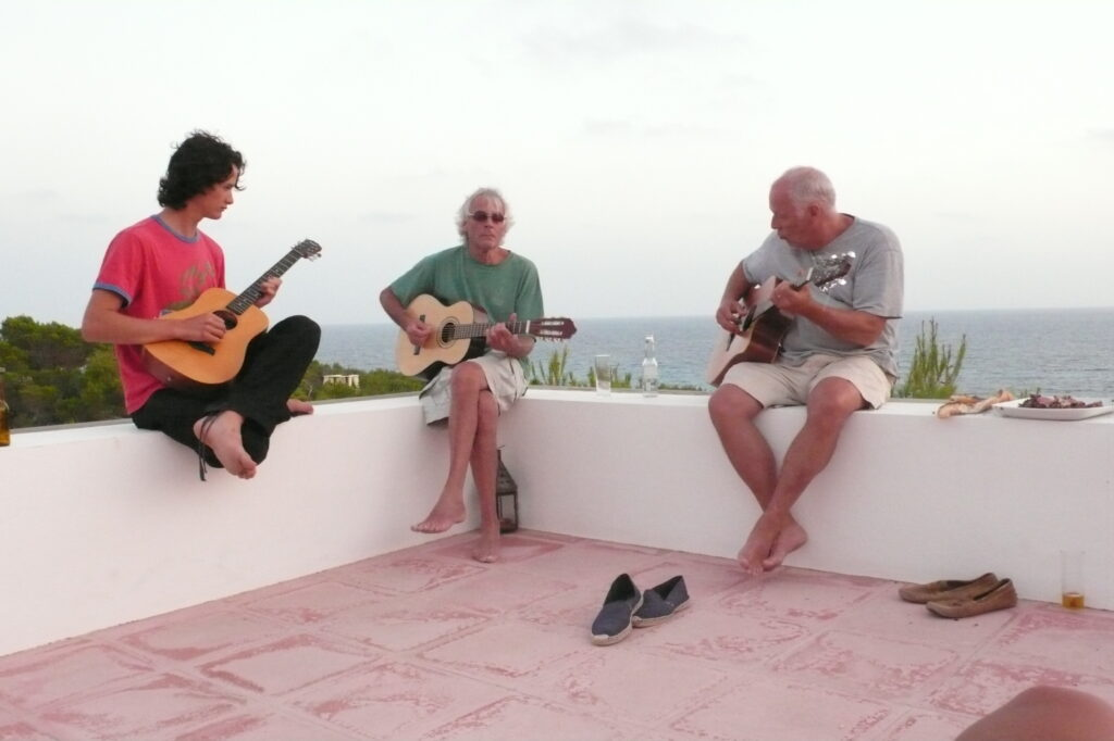 Charlie Gilmour, Richard Wright and David Gilmour on Holiday in Formentera, 2007