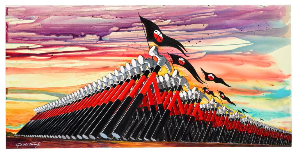 Lot 316 Gerald Scarfe Pink Floyd – The Wall The Marching Hammers, oil on canvas