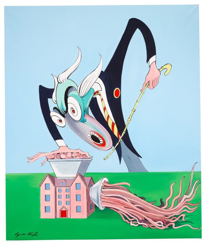 Lot 318 Gerald Scarfe Pink Floyd – The Wall The Teacher and the Mincing Machine, oil on canvas