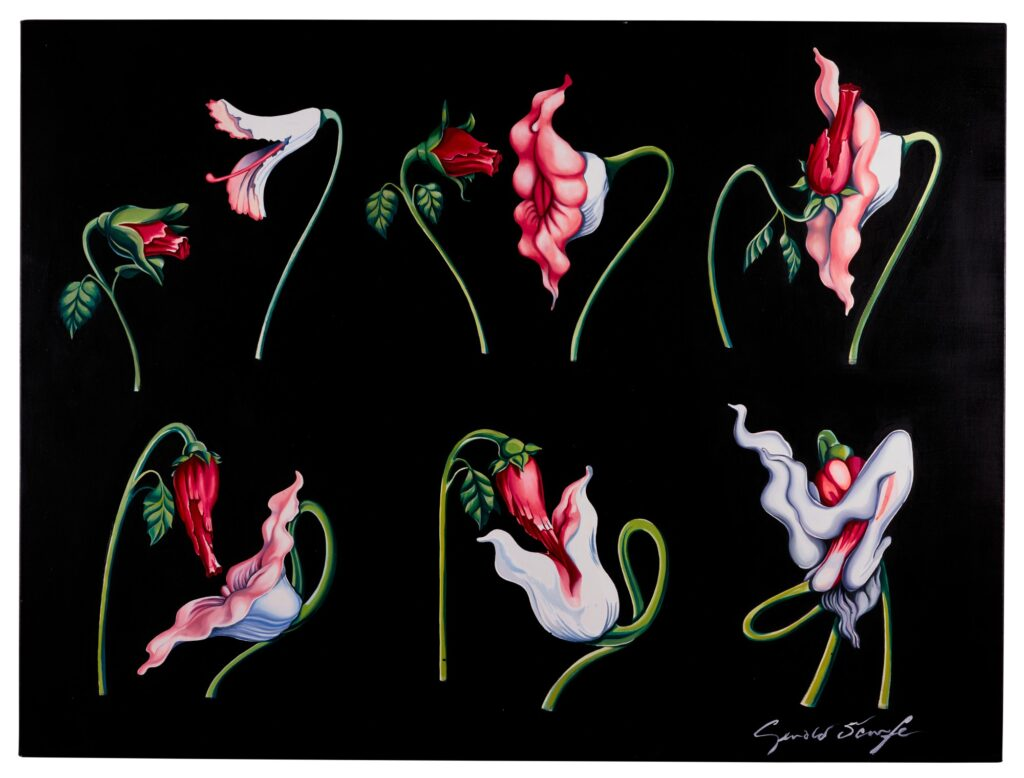 Lot 319 Gerald Scarfe Pink Floyd – The Wall The Flowers 2 sequence, oil on canvas