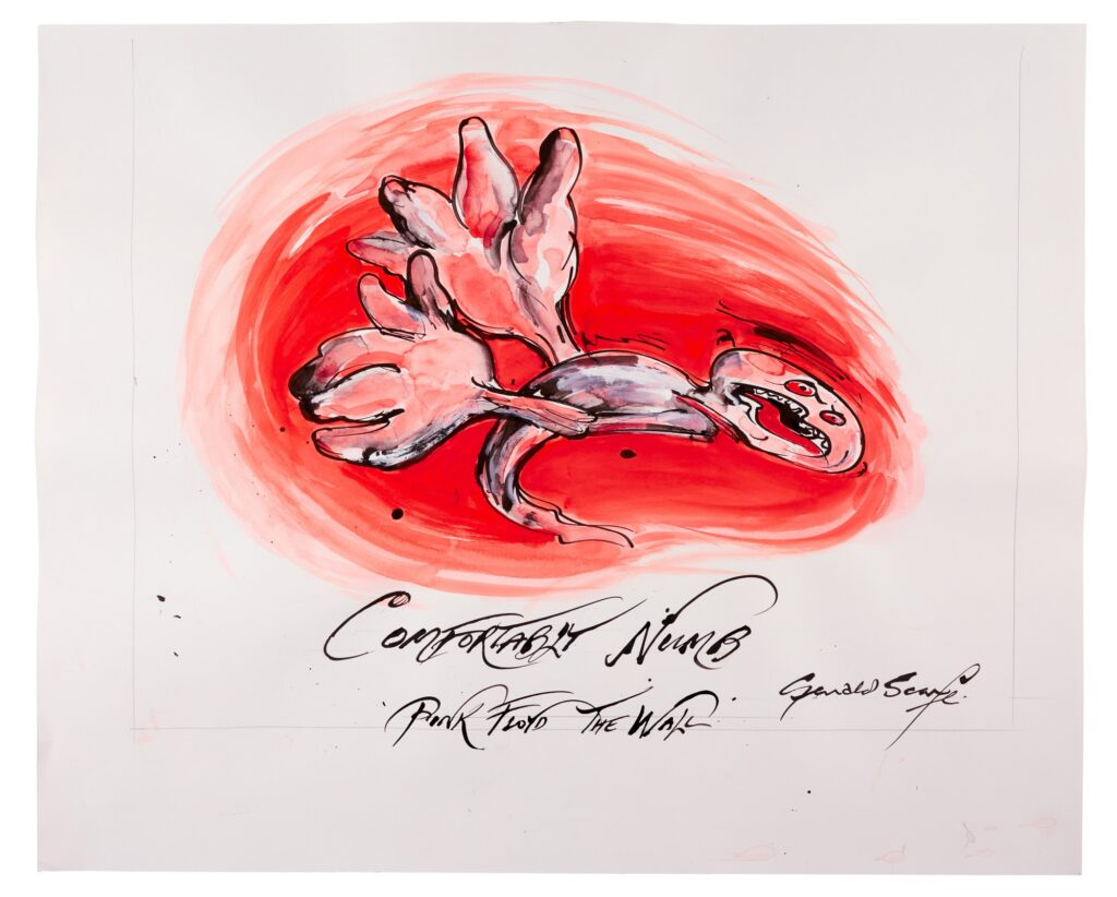 Lot 322 Gerald Scarfe Pink Floyd – The Wall Comfortably Numb, ink and watercolour