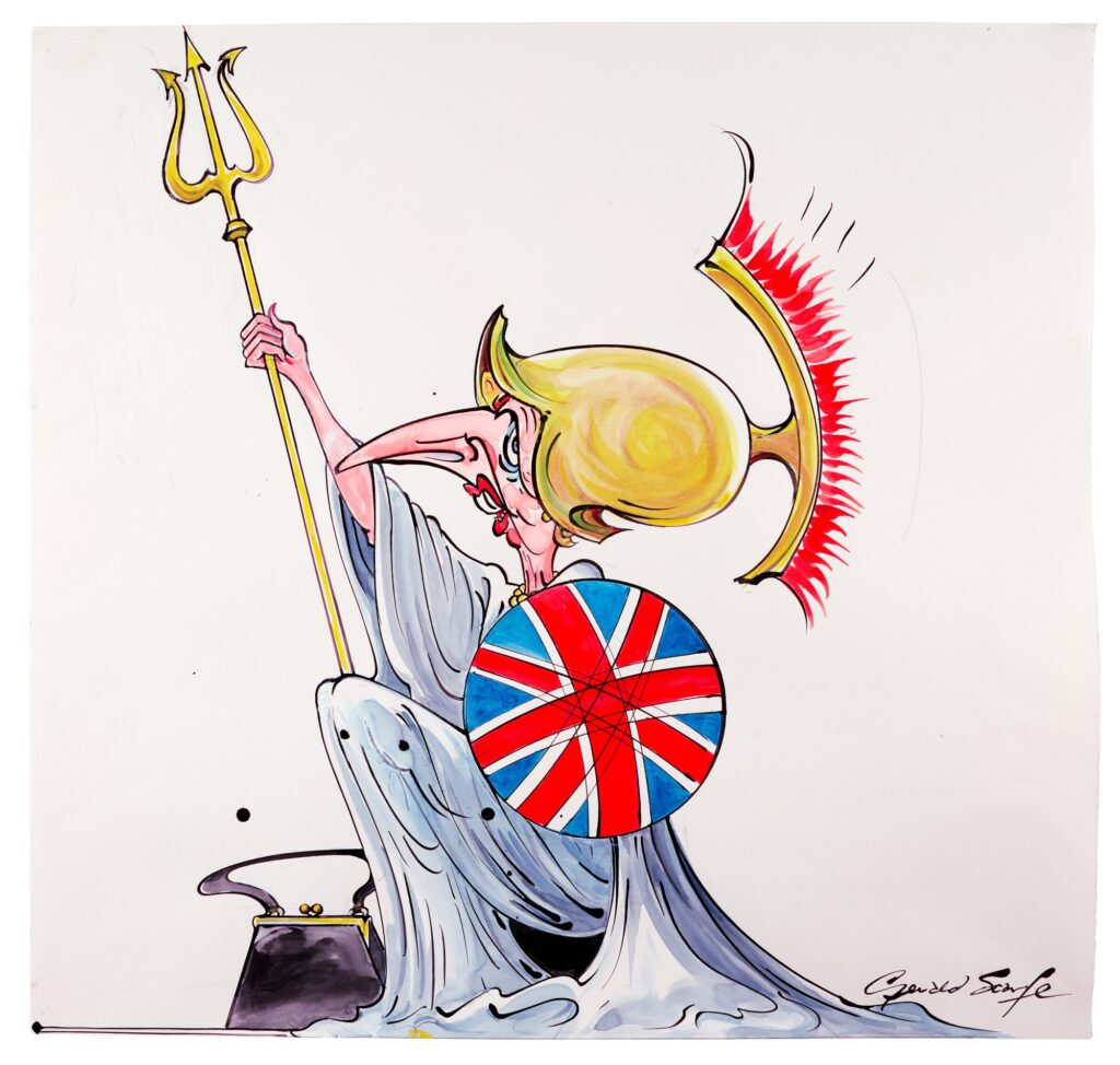 Lot 323 Gerald Scarfe Maggie, ink and watercolour