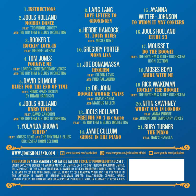 Jools Holland Piano and Friends inc David Gilmour Tracks